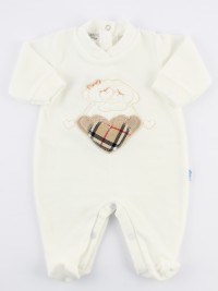 Picture baby footie chenille tender hug. Colour creamy white, size 3-6 months