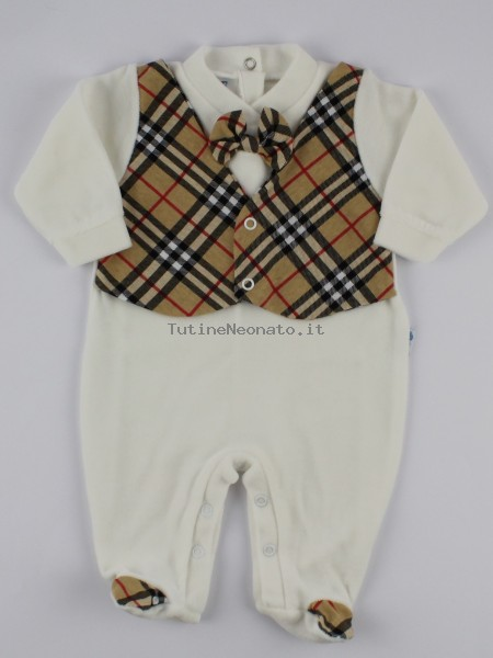 Image baby footie chenille Scottish vest. Colour creamy white, size 0-1 month