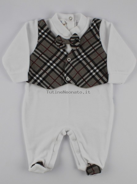 Image baby footie chenille Scottish vest. Colour grey, size 0-1 month Grey Size 0-1 month