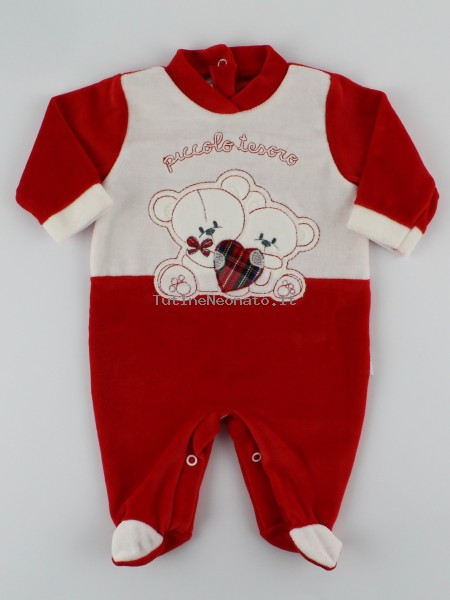 Picture baby footie chenille bears little treasure. Colour red, size 0-1 month Red Size 0-1 month