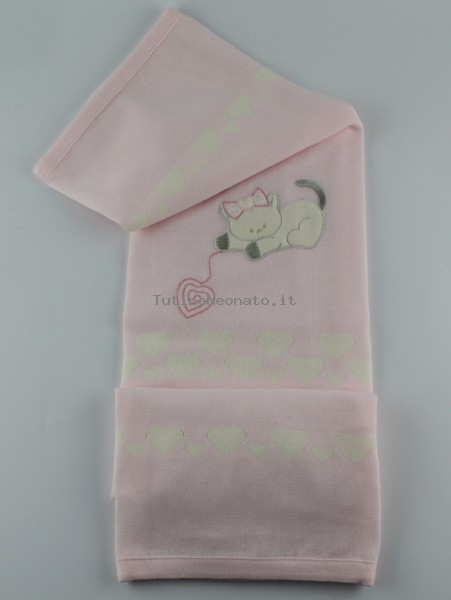 Image cover cradle mixed wool kitten with hearts. Colour pink, one size Pink One size