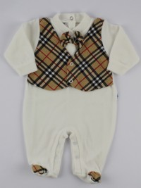 Image baby footie chenille Scottish vest. Colour creamy white, size 3-6 months