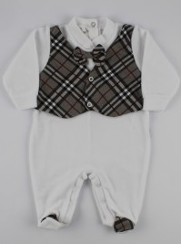 Image baby footie chenille Scottish vest. Colour grey, size 1-3 months