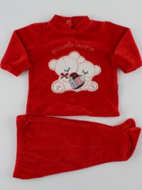 Picture baby footie outfit in chenille little treasure. Colour red, size 0-1 month