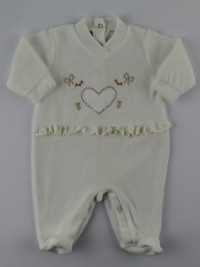 Image baby footie chenille lace and rhinestone. Colour creamy white, size 0-1 month