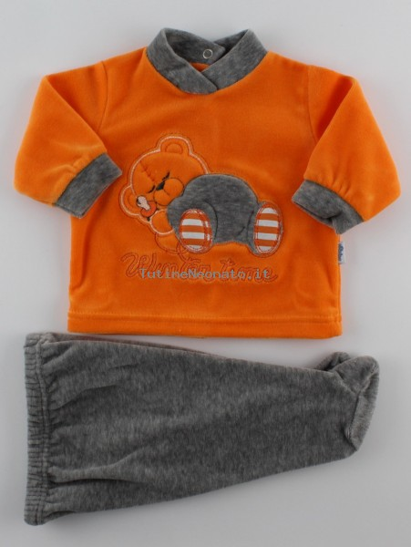 Picture baby footie outfit in chenille winter time. Colour orange, size 3-6 months Orange Size 3-6 months