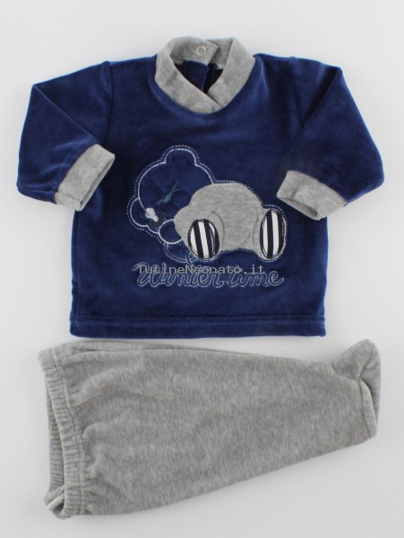 Picture baby footie outfit in chenille winter time. Colour blue, size 1-3 months