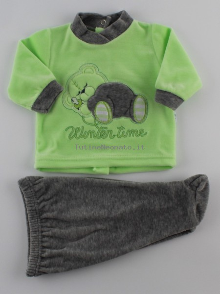 Picture baby footie outfit in chenille winter time. Colour pistacchio green, size 1-3 months Pistacchio green Size 1-3 months