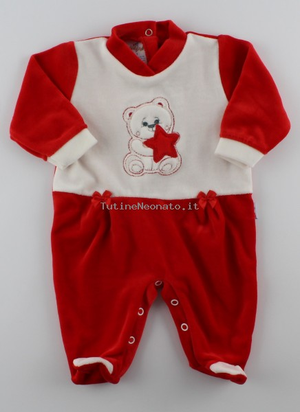 Picture baby footie in chenille baby bear and star. Colour red, size 3-6 months Red Size 3-6 months