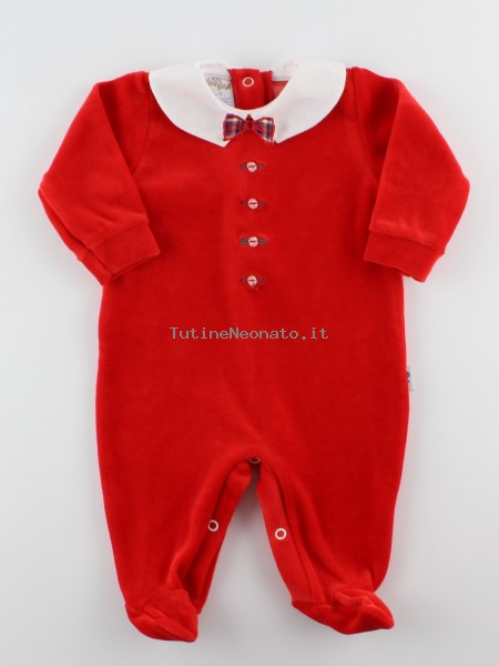 Picture baby footie in chenille bow tie. Colour red, size 1-3 months Red Size 1-3 months