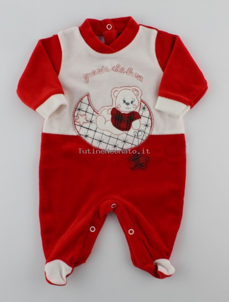 Picture baby footie in chenille baby bear looks at that moon. Colour red, size 1-3 months Red Size 1-3 months
