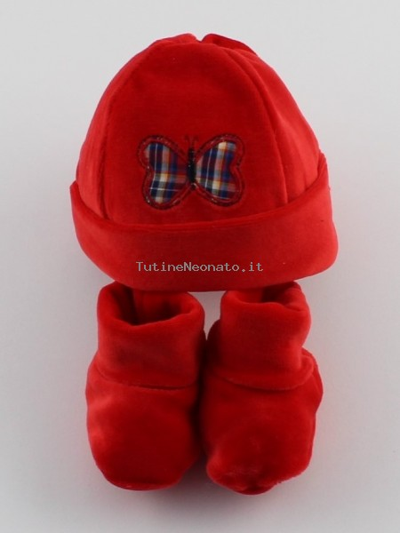 Picture hat and chenille butterfly shoes. Colour red, one size Red One size