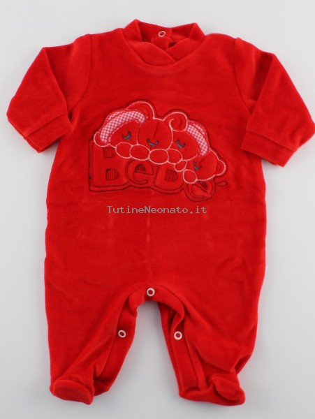 Baby footie red baby. Colour red, size 3-6 months Red Size 3-6 months