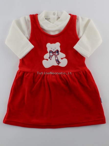 Picture baby footie outfit chenille baby bear bow. Colour red, size 6-9 months