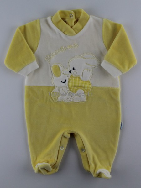 Picture baby footie in my little chenille. Colour yellow, size 1-3 months Yellow Size 1-3 months
