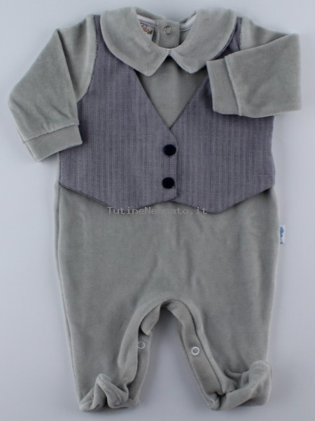 Image baby footie chenille vest fabric. Colour grey, size 0-1 month Grey Size 0-1 month