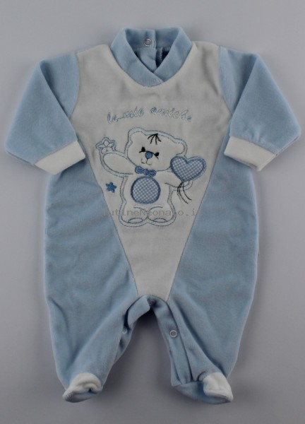 Picture baby footie chenille my friends. Colour light blue, size 3-6 months Light blue Size 3-6 months