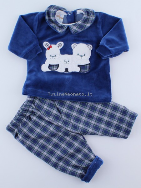 Picture baby footie outfit in chenille friends in partying. Colour blue, size 3-6 months Blue Size 3-6 months
