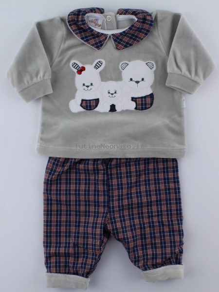 Picture baby footie outfit in chenille friends in partying. Colour grey, size 1-3 months Grey Size 1-3 months