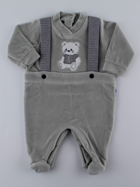 Picture baby footie in chenille baby bear elegant. Colour grey, size 3-6 months