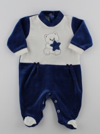 Picture baby footie in chenille baby bear and star. Colour blue, size 3-6 months