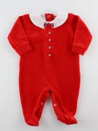 Picture baby footie in chenille bow tie. Colour red, size 6-9 months