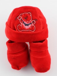 Picture hat and chenille baby bear shoes red. Colour red, one size
