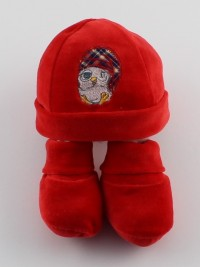 Picture hat and shoes chenille red gufetto. Colour red, one size