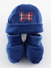 Picture hat and chenille butterfly shoes. Colour blue, one size
