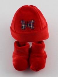 Picture hat and chenille butterfly shoes. Colour red, one size