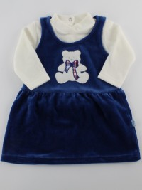 Picture baby footie outfit chenille baby bear bow. Colour blue, size 3-6 months