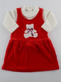 Picture baby footie outfit chenille baby bear bow. Colour red, size 3-6 months
