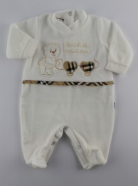 Picture baby footie little chenille of mother. Colour creamy white, size 3-6 months