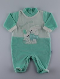 Picture baby footie in my little chenille. Colour green, size 0-1 month