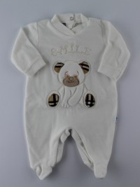 Image baby footie chenille Scottish smile. Colour creamy white, size 0-1 month