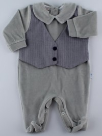 Image baby footie chenille vest fabric. Colour grey, size 0-1 month
