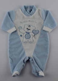 Picture baby footie chenille my friends. Colour light blue, size 1-3 months