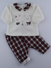 Picture baby footie outfit in chenille friends in partying. Colour creamy white, size 3-6 months
