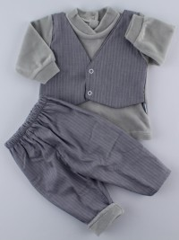 Picture baby footie chenille outfit fabric vest. Colour grey, size 1-3 months
