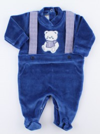 Picture baby footie in chenille baby bear elegant. Colour blue, size 0-1 month