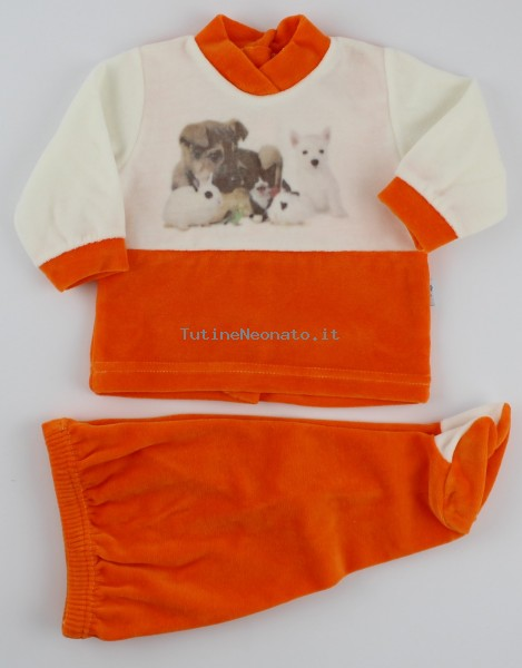 Image baby footie outfit tender puppies. Colour orange, size 0-1 month