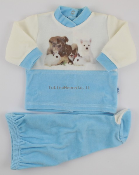 Image baby footie outfit tender puppies. Colour turquoise, size 1-3 months