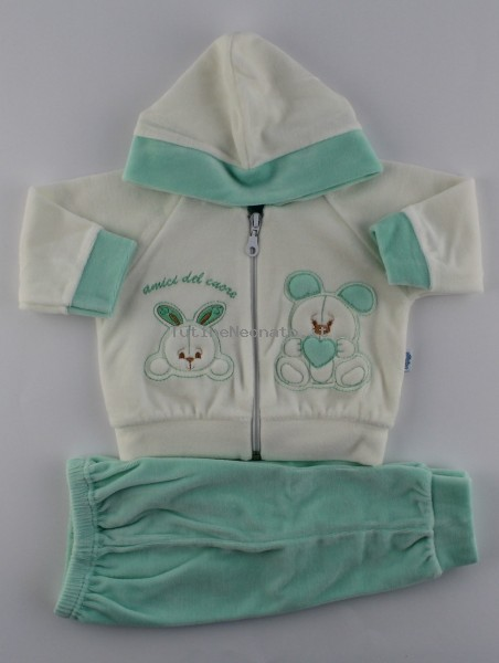 Picture tracksuit hooded bunnies heart friends. Colour green, size 0-1 month Green Size 0-1 month
