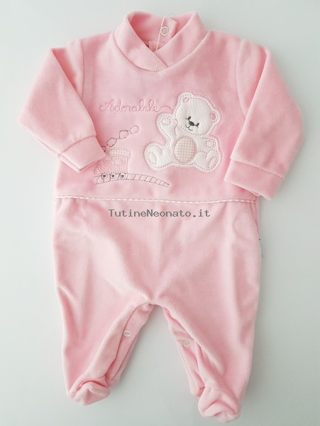 Image baby footie chenille bear and locomotive. Colour pink, size 6-9 months Pink Size 6-9 months