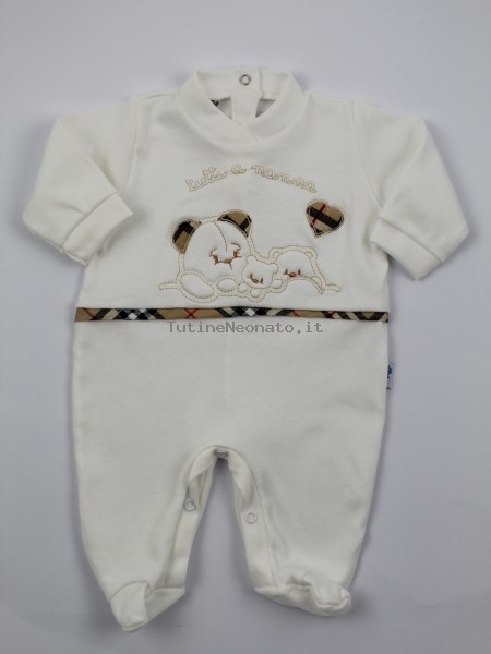 Image cotton baby footie interlock all to nannna. Colour creamy white, size 1-3 months Creamy white Size 1-3 months