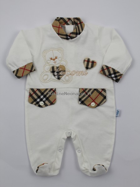 Image cotton baby footie jersey baby bear here I am. Colour creamy white, size 1-3 months Creamy white Size 1-3 months