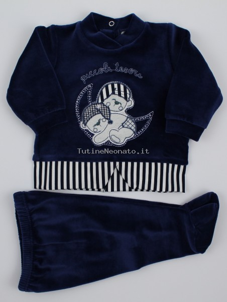 baby footie outfit chenille little treasures. Colour blue, size 0-1 month Blue Size 0-1 month