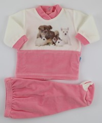 Image baby footie outfit tender puppies. Colour coral pink, size 1-3 months