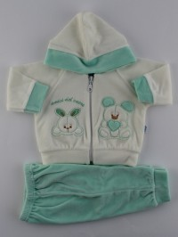 Picture tracksuit hooded bunnies heart friends. Colour green, size 0-1 month