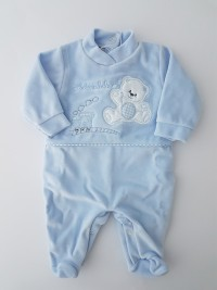 Image baby footie chenille bear and locomotive. Colour light blue, size 6-9 months